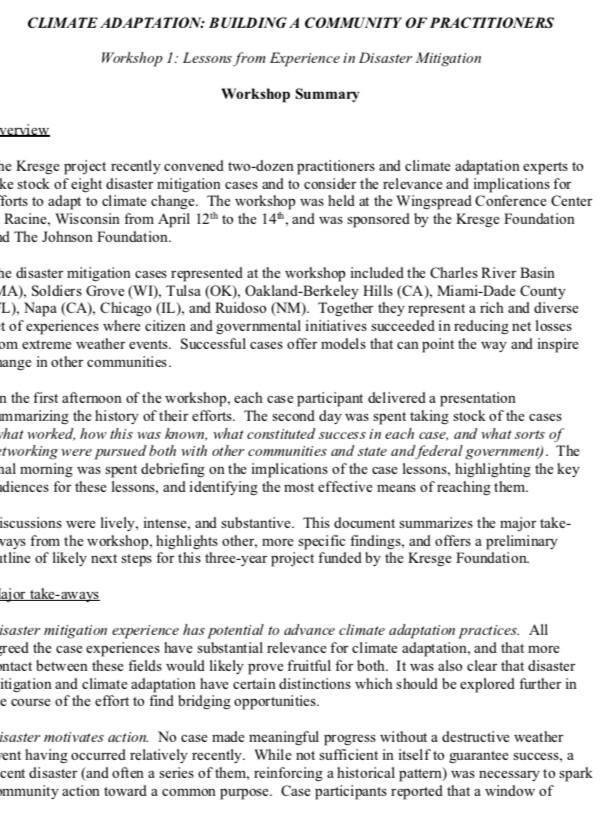 Kresge Foundation Workshop Summary 2010 - Climate Adaptation: Building a Community of Practitioners