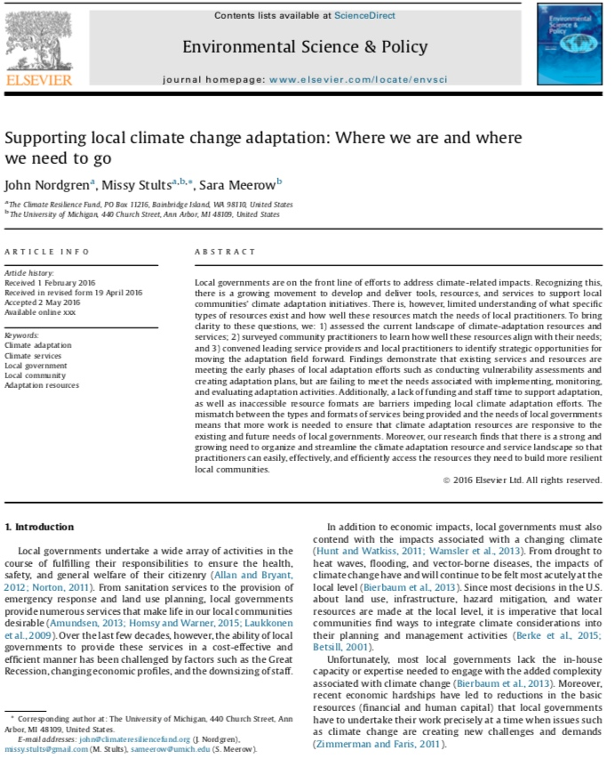 Nordgren et al. 2016 - Supporting Local Climate Change Adaptation: Where we are and where we need to go