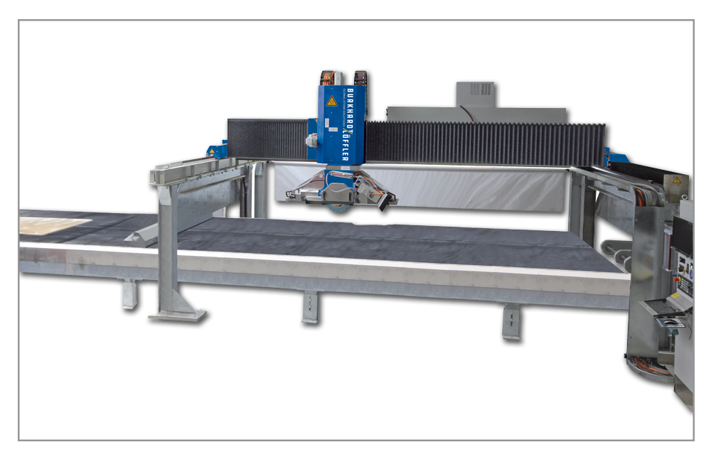 CSA 598 -Industrial Production 5-Axis Bridge Saw - With its slab autoloader, continuous belt table and automatic removal of finished work pieces, CSA 598 Bridge Saws deliver precision, reliability and economy. Burkhardt-Loffler modular design allows combining multiple 2D or 3D waterjet heads. Combining a waterjet bridge and saw bridge with vacuum work piece manipulation greatly increases kitchen countertop production.Options Include:• Single or Multiple Bridges• Automatic Tool Changing• Under Slab Drilling and Rod Slotting• Automatic Work Piece Loading and Unloading• Stationary Saw Table or Continuous Belt Table• Digital Slab Imaging• Slab Yield Optimization SoftwareThe CSA 598 Series offers great choices for serious, growth-oriented fabricators seeking to maximize production output.