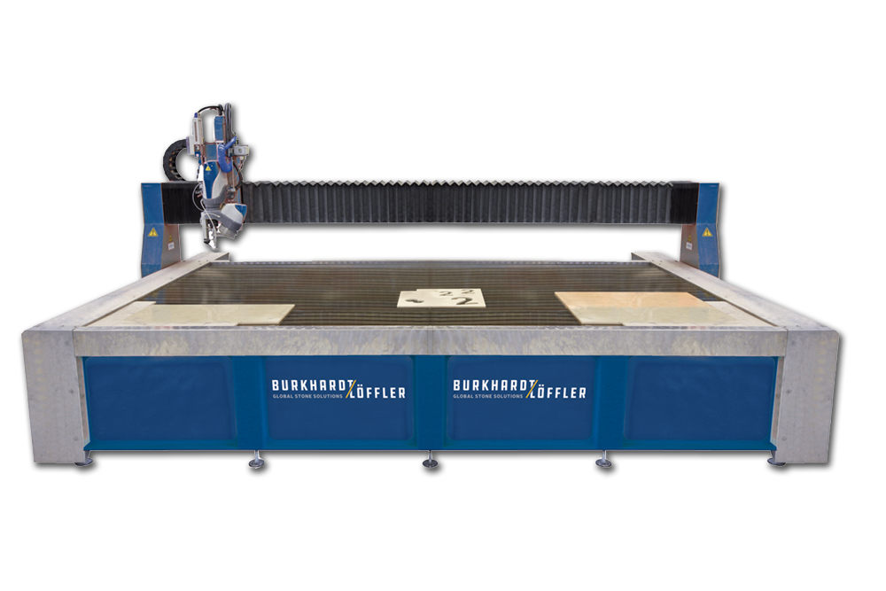 WATERJET - 3D Cutting Machines - Waterjet cutting is the perfect solution for complex shapes and designs produced in granite, quartz, marble, porcelain, ceramic and glass. Precise miter cutting is enabled by the rotating swiveling head and the automatic surface sensors which compensate for differences in material thickness. Burkhardt-Loffler also engineered and manufactures a Waterjet 3D Twin-Table that allows loading and unloading of work pieces during continuous cutting operations, creating an efficient work flow. Add intricate inlay work for greater profitability with Waterjet 3D capability on your manufacturing line.