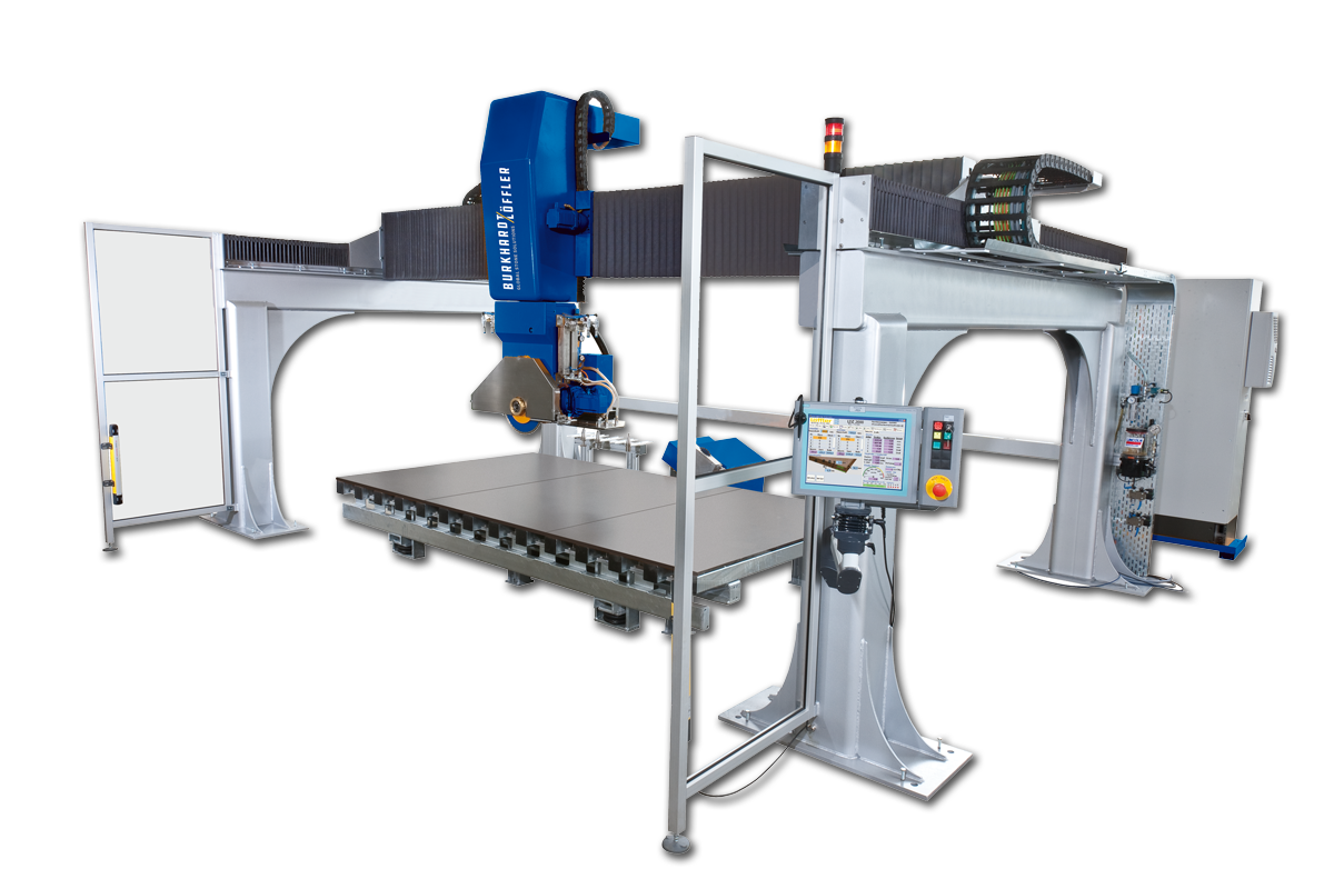 LDZ 2000 -Fully-Automatic 5-Axis Bridge Saw - The LDZ 2000 Series represents the latest in 5-Axis Bridge Saw technology which can include automatic blade changing, blade calibration, precise mitering, coring and radius cutting. It's the optimal machine for the most demanding requirements and tightly nested work pieces. Made especially for forward-thinking, small and medium sized companies, the LDZ 2000 is the ideal high-precision bridge saw that becomes a complete CNC work center when you add optional upgrades including:• Laser Projection• Vacuum Hold-Down System• Automatic Tool Changer• ISO 40 Tool Holders• Under Slab Drilling and Rod SlottingThis combination provides a broad range of applications, from individual kitchen countertops, vanities, and shower pans to architectural products. In short, the flexibility, design and construction of the LDZ 5-axis bridge saw provides countless possibilities to meet your specific market demands.