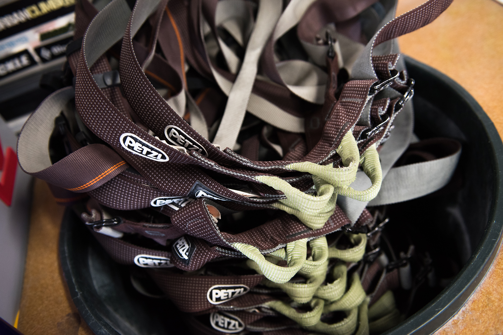 harness - This nifty wearable goes around your waist and keeps you off the ground. Harnesses are required for autobelays and any type of roped climbing. Rent one for $4 (or part of the rental package for $10) or get your own in our gear shop.