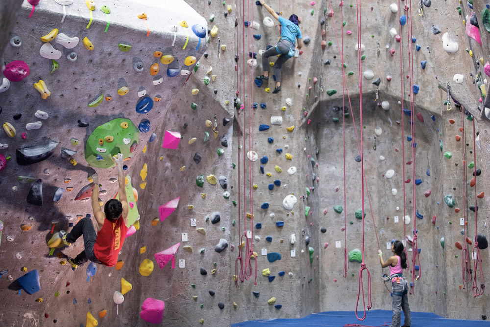 climbing - An irresistibly fun activity for all ages. Climb color coded routes to reach the top!