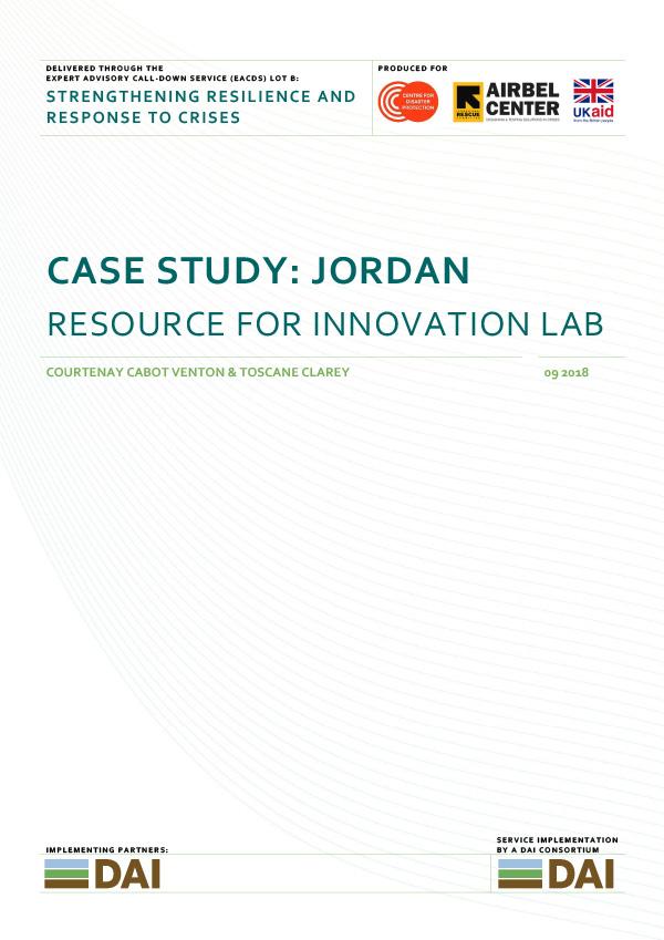 Case Study: Jordan - RESOURCE FOR INNOVATION LABSEPTEMBER 2018
