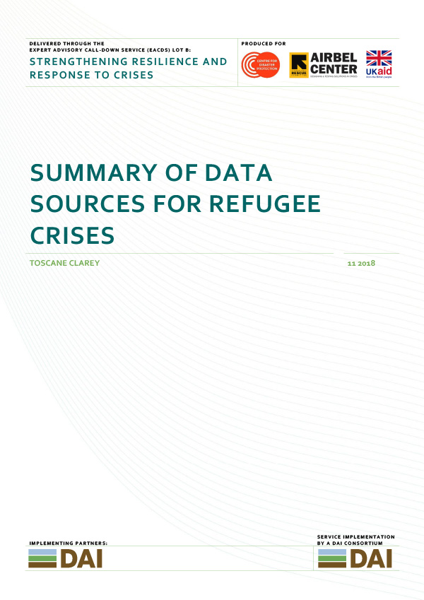 Summary of Data Sources for refugee crises - NOVEMBER 2018