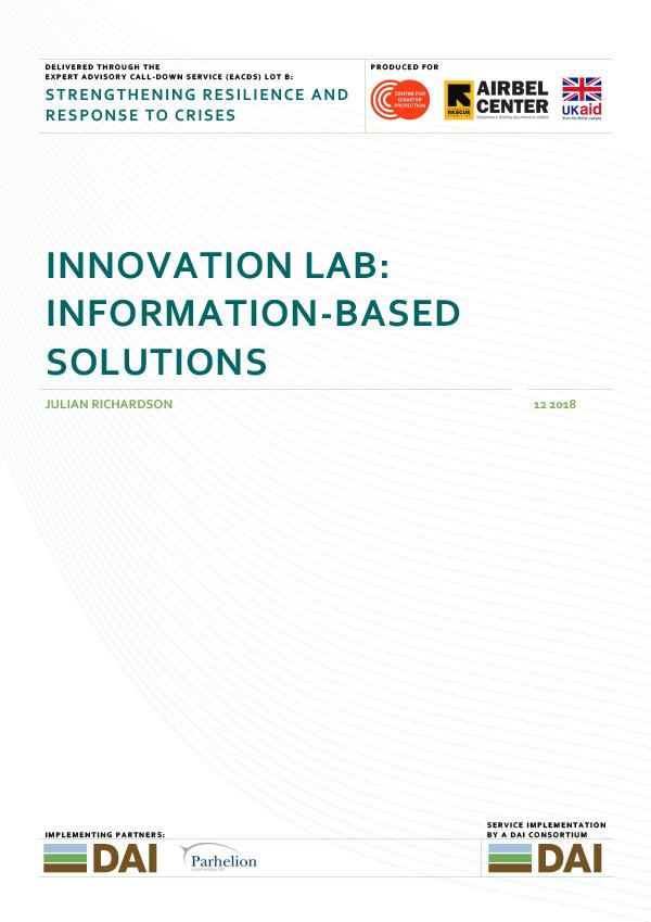 Innovation Lab Information-Based Solutions - DECEMBER 2018
