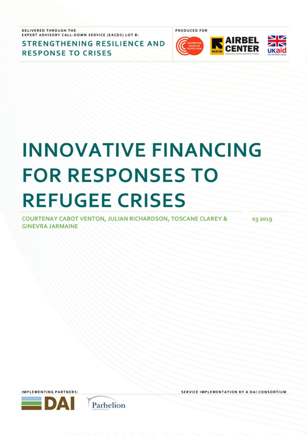 Innovative Financing for Responses to Refugee Crises - The growing scale, duration and impact of refugee crises requires innovative approaches to financing that are more efficient, more effective, more equitable, and more sustainable.This report – produced after two Innovation Labs which convened experts spanning the finance, insurance, humanitarian, development and policy fields – lays out a vision for new systems of financing to ensure funds are available rapidly and reliably to respond to the changing nature of global refugee crises.