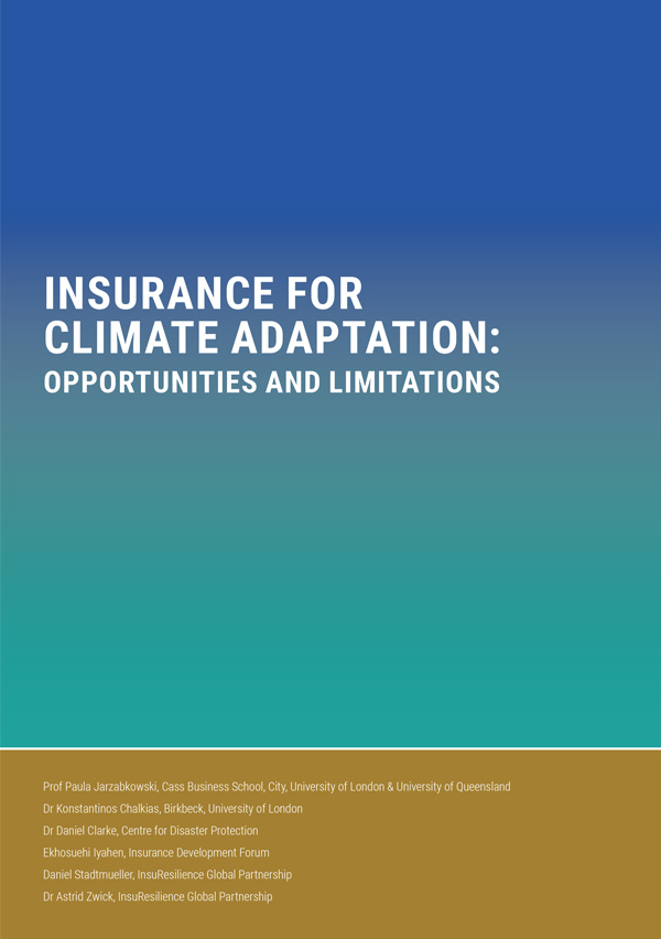 insurance for climate adaptation: OPPORTUNITIES AND LIMITATIONS - This paper examines the role insurance can play as part of a wider strategy to help societies adapt to climate change and recover from disasters. It includes a series of recommendations to maximise the benefits of insurance for climate adaptation. It is part of a series of background papers commissioned by the Global Commission on Adaptation to inform its 2019 flagship report.