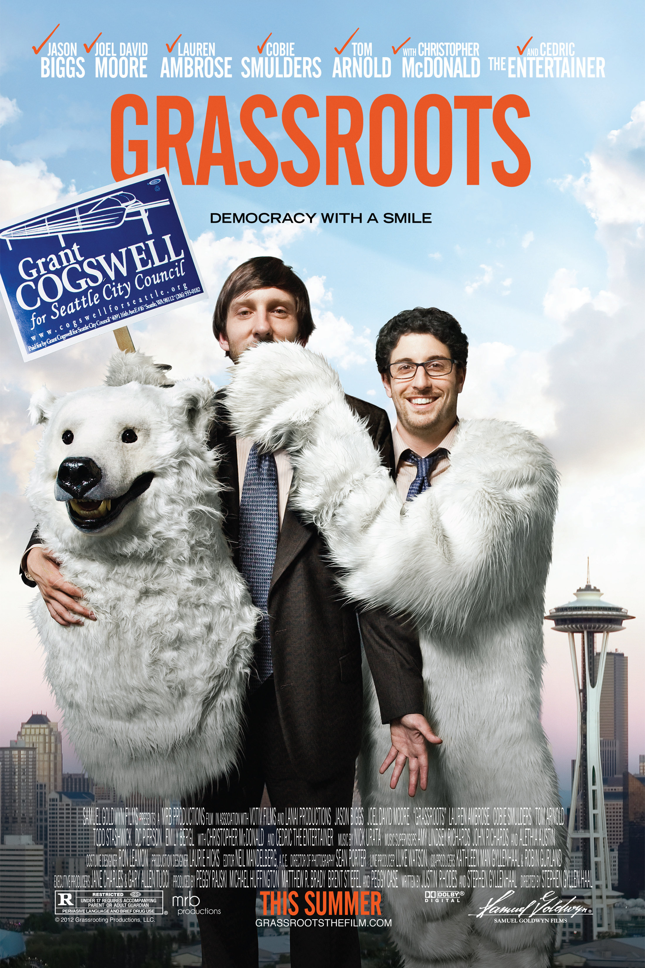 "Grassroots - Political candidate Grant Cogswell has his own set of image problems, starting with the fact that he likes to dress up as a polar bear and he's currently an unemployable music critic. In Stephen Gyllenhaal's bittersweet, uplifting comedy GRASSROOTS - based on the true story of the 2001 Seattle City Council election - Cogswell becomes the mono-maniacal man of the people, rallying an unlikely posse of misfits, slackers and square pegs to his seemingly hopeless David-and-Goliath battle against firmly entrenched incumbent. GRASSROOTS received a limited theatrical release and is distributed by Samuel Goldwyn Films.""…a witty, well-cast, sometimes ingeniously paced political comedy…"" - John Hartl, Seattle Times"