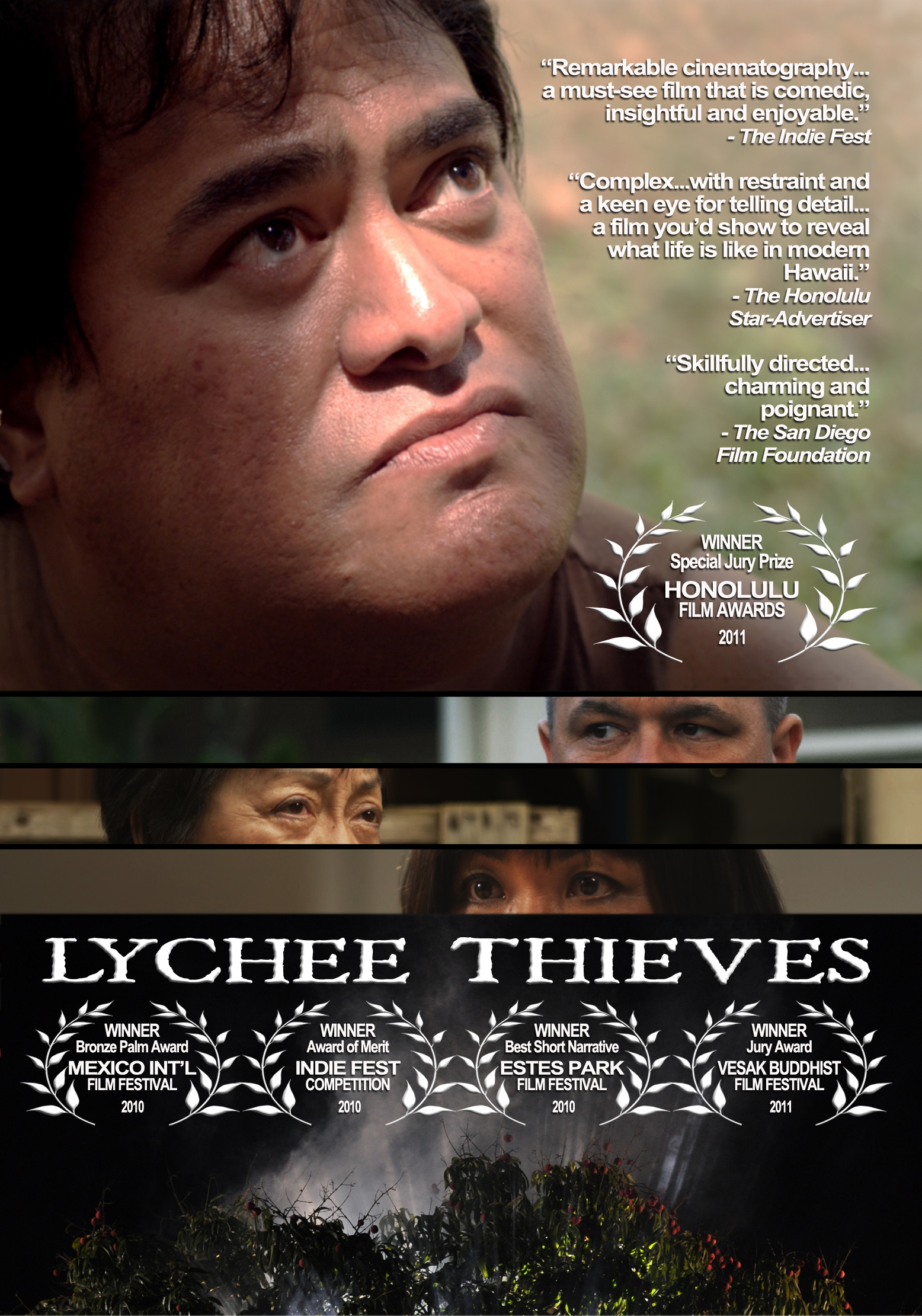 "Lychee Thieves - It's lychee season and Arnie and Ethel have a magnificent lychee tree that everybody in the neighborhood is salivating over, but they're determined to keep the fruit all to themselves. Their neighbor, Mrs. Chun, believes the branches hanging over her fence belong to her, but has a foreboding dream about the fate of the tree. Meanwhile, local fruit picker Keoki gets ready to pick the lychee ""the island way.""Lychee Thieves explores the humorous and sometimes contentious interactions among the culturally and ethically diverse people of Hawai'i, prompting longtime local critic Burl Burlingame to describe it as"