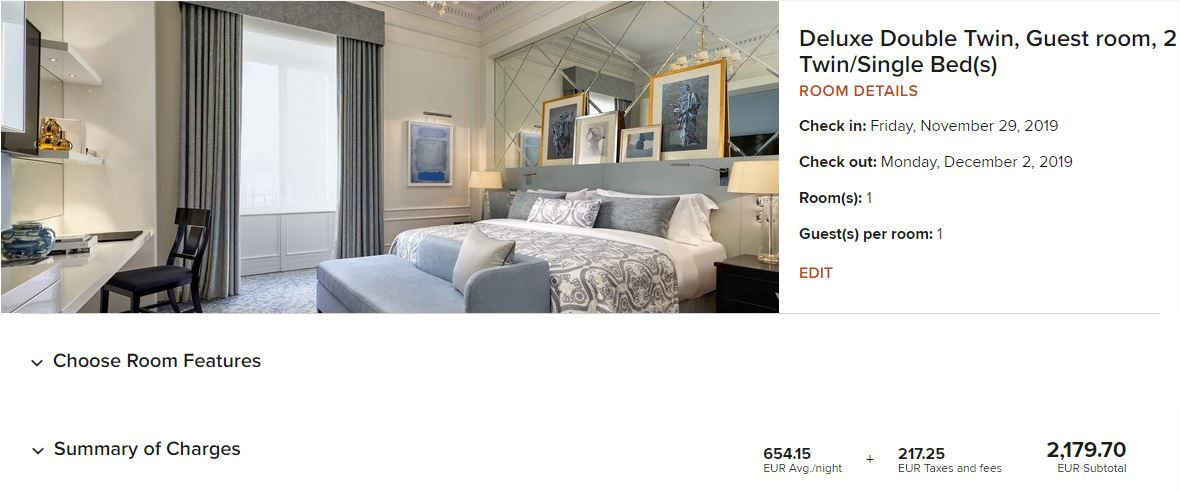 The 3-night stay at The St. Regis Roms came out to a redemption value of around 1.36 cents per point