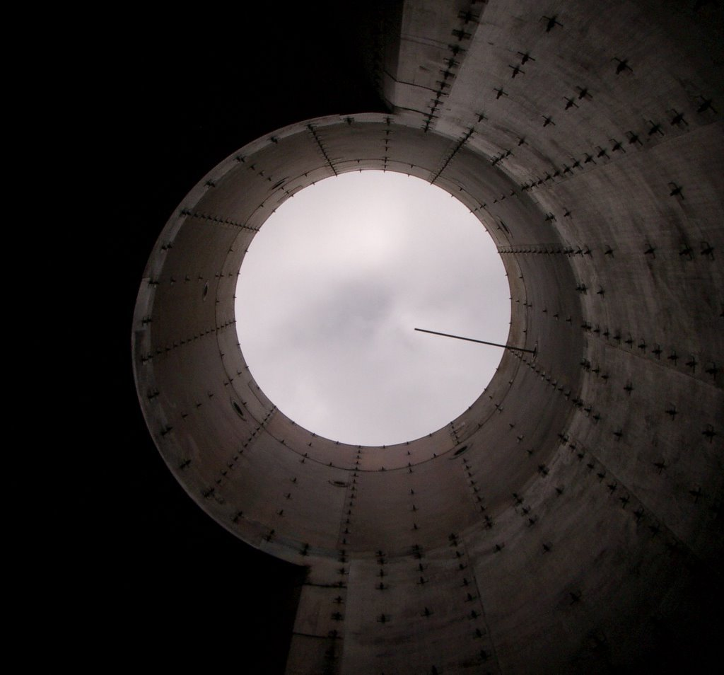 Looking up at a CEM (continuous emissions monitoring) probe in a gas turbine stack, prior to stack testing.