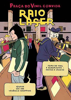 Cartaz de evento vinil + quadrinhos com participação da Raio Laser