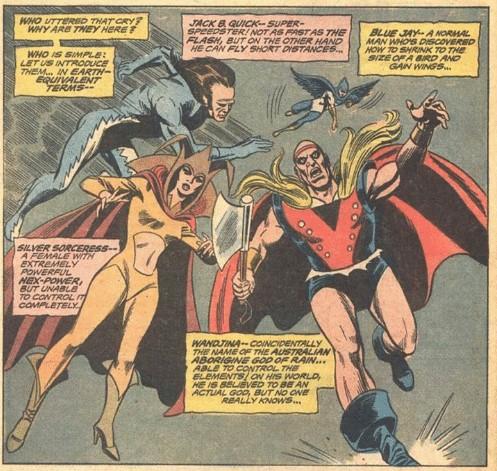 Cena de Justice League of America # 87 (1971): Primeira aparição dos Campeões de Angor