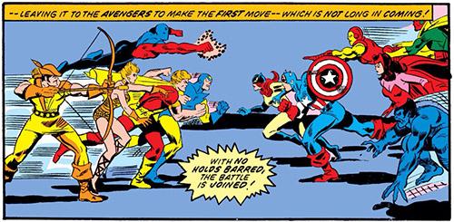 Cena de Avengers # 144 : Esquadrão Supremo vs Vingadores ou Liga vs Campeões de Angor?
