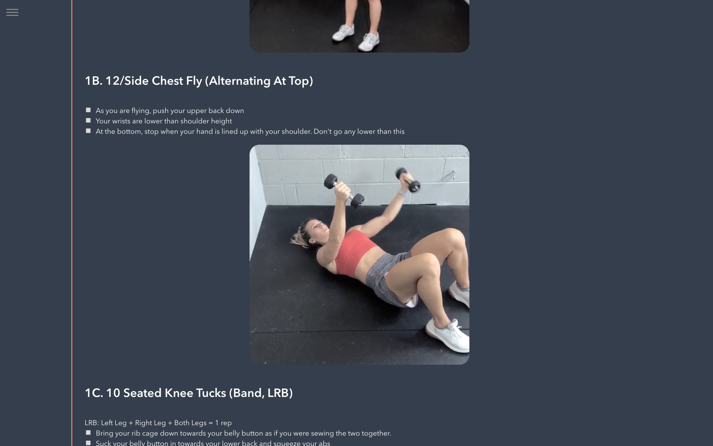 USER FRONTEND - Lastly, the user content. A section full of fitness videos organised by type of workout and date.