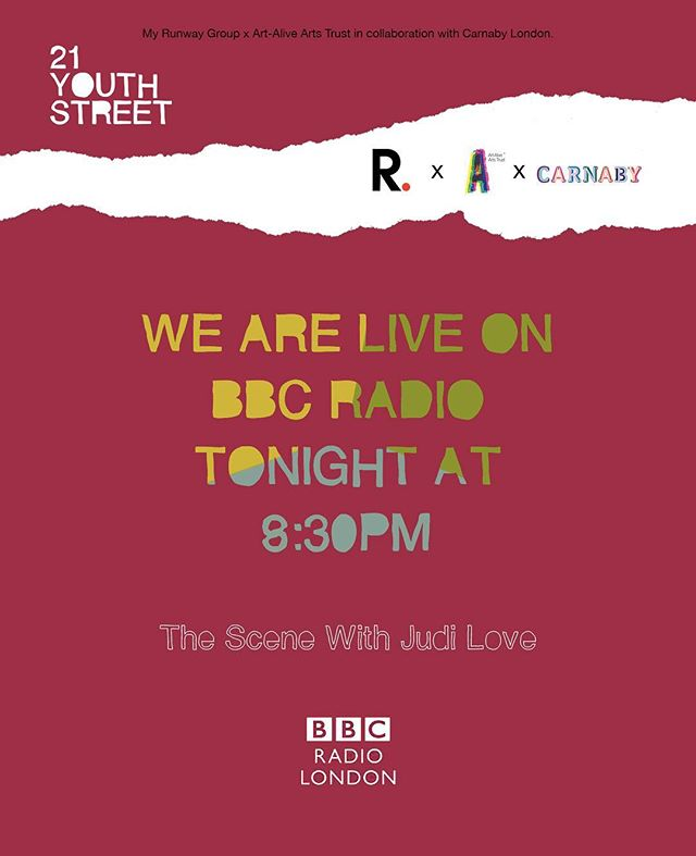 Catch us on @bbcradiolondon tonight at 8:30 pm as we discuss all things creativity, art and #21YouthStreet with the incredibly funny @1judilove. ⭕️❤️😂 #youth #art #london #bbc #radio #popup #carnabylondon