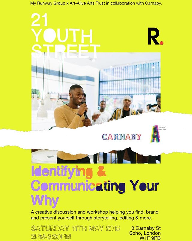 Excited to say @mr200m_ is stepping into our #21YouthStreet hub this Saturday to present a creative event/workshop to help you identify and communicate your 'WHY'. ⭕️ Discussing practical tools, creative solutions, and imaginative strategies... whilst being joined by his cool friends! 👨🏾‍💻👩🏿‍🏫🙋🏿‍♂️🙋🏽‍♀️ ________ DISCOUNTED and LIMITED events are available. 🤫  Tickets in bio  #carnabylondon #creative #youth #arts #event #workshop #vlogger #youtube #purpose #soho #networking #media #editing
