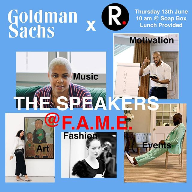 🎟Have you got your FREE tickets yet? Make sure not to miss out!  MRG x Goldman Sachs present: 💥Pursuing F.A.M.E. workshop💥 👠Ash K Halliburton: Art Director, Creative Director and Creative Producer 🎨Helene Love Alotty: Modern & Contemporary African Art Cataloguer 🎬Kojo Marfo: Creative Arts Producer 🎤Parris O'Loughlin-Hoste: Senior Urban Artist Manager 🔝Richard Asomugha: Motivational and Mindset Transmutational Speaker