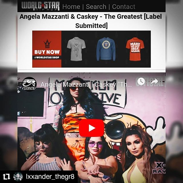 #Repost @lxxander_thegr8 • • • • • • We on @worldstar again with the new @angela_mazzanti single 'The Greatest' ft. @caskey407🔥 . . Ice cream 🍦 & bad bitches 👅  Released through @cleopatrarecords / @xray_records & video by @nickyfilms 🎥 . . #lahiphop #femalerapper #girlrapper #girlswithtats #losangelesrap #losangelesartist