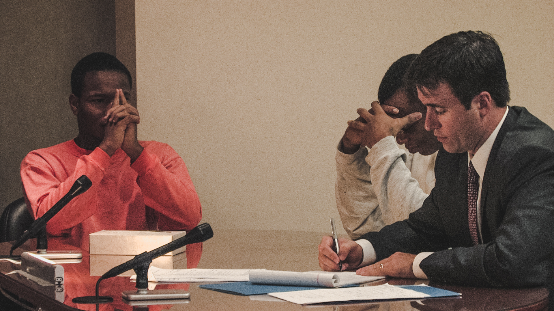 Two brothers and their siblings during a child welfare court hearing in Indiana. Photo courtesy of Calamari Productions