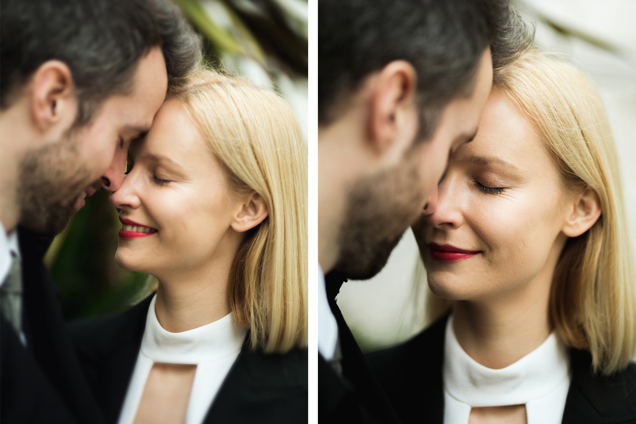 Bride and groom in London at Marylebone town hall wedding