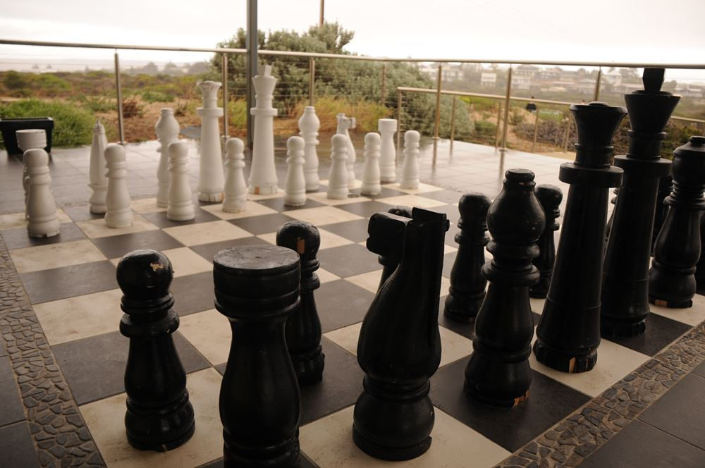 Offering a life size chess set right on your back door -