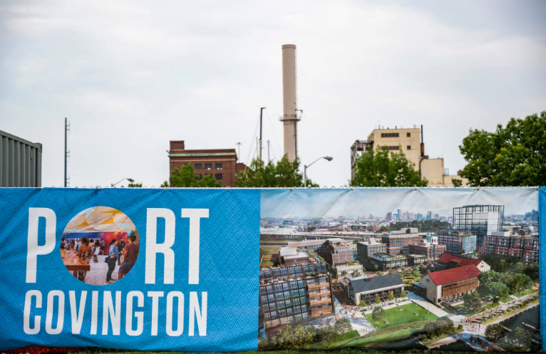 "Developers say Port Covington will be a ""city within a city"" geared to millennials and featuring offices, residences and a hotel. (Matt Roth for ProPublica)"