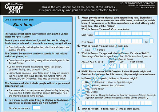 2010 census form. (Government Document)