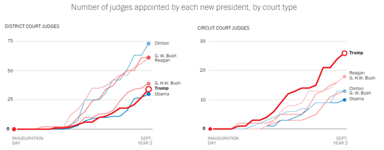 By May 2019, Trump had 100 of his judges on the bench, with 40 on appeals courts. (Washington Post)