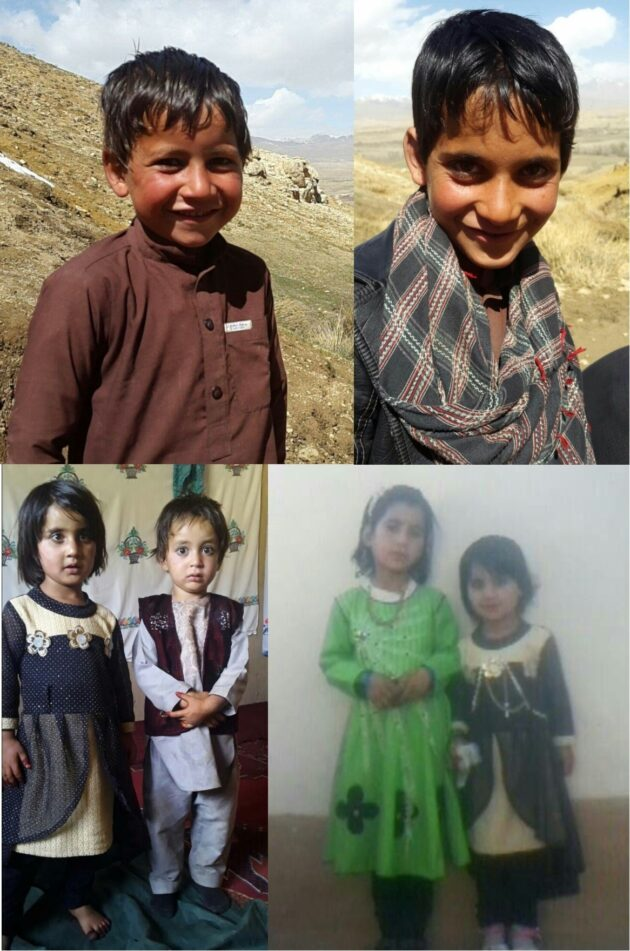 Clockwise from top left: Masih's children Mohammad Elyas (8), Mohammad Wiqad (10), Fahim (5), Samina (7) and Mohammad Fayaz (4) all died in the strike, alongside their two elder sisters, Anisa (14), and Safia (12), and their mother Amina (32). (Fahim appears in both photos in the bottom row)Photo supplied by family.    We do not have photos of the teenage girls or Masih's wife Amina