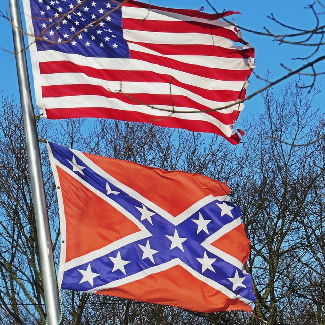 #OldGlory flying above #TheRebelFlag in Indianapolis but why? ( Steve Baker )