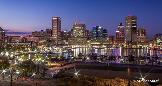 Baltimore Skyline in Blue Hour, Maryland (  SridharSaraf )