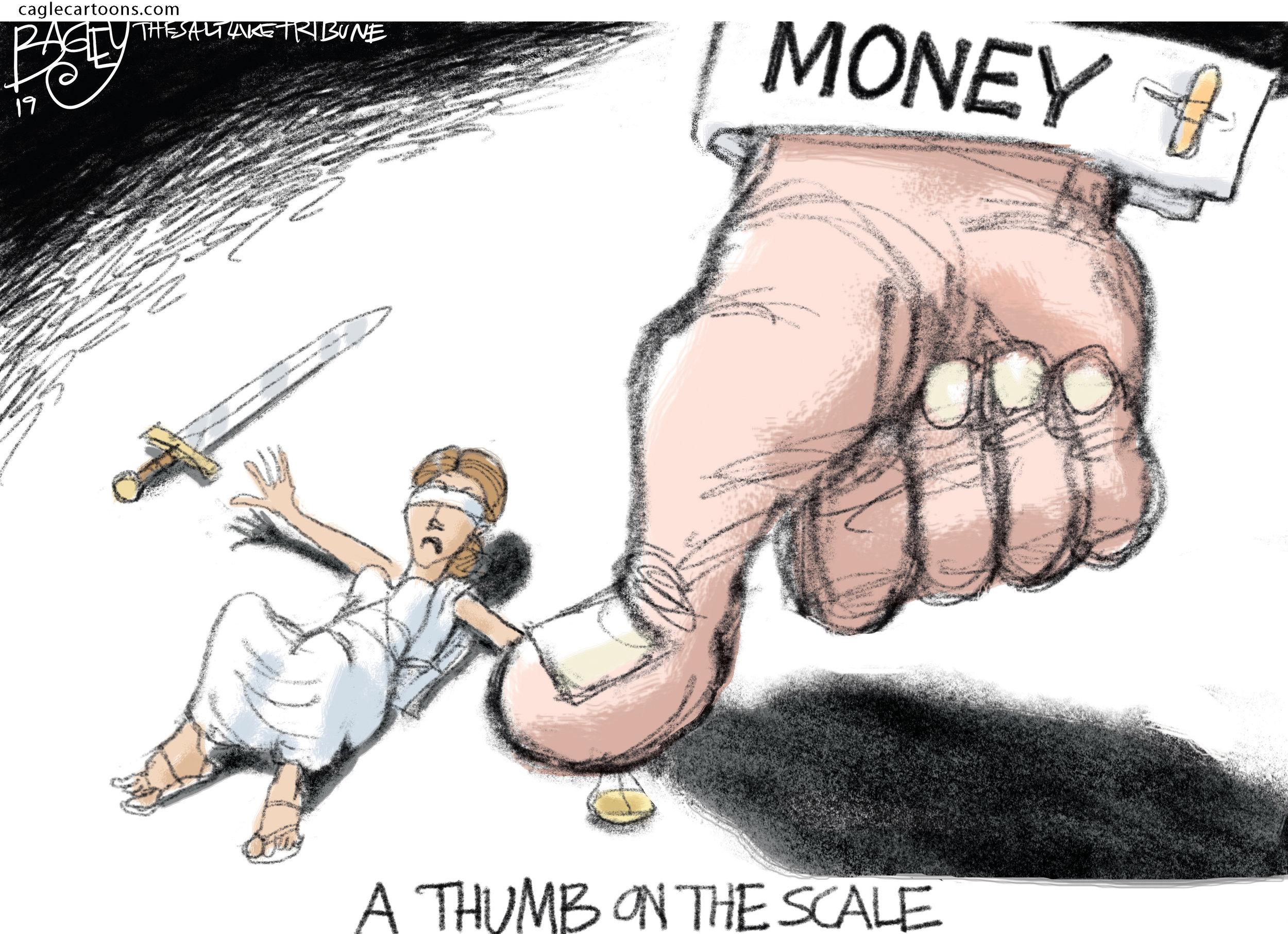 Thumb on the Scale ( Pat Bagley,  The Salt Lake Tribune)