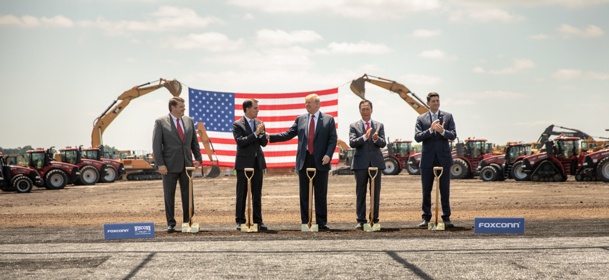 Speaker Paul Ryan, President Donald Trump, Wisconsin Governor Scott Walker, Foxconn Founder and CEO Terry Gou and Christopher Murdock at Foxconn's groundbreaking ceremony in Wisconsin ( Shealah Craighead )