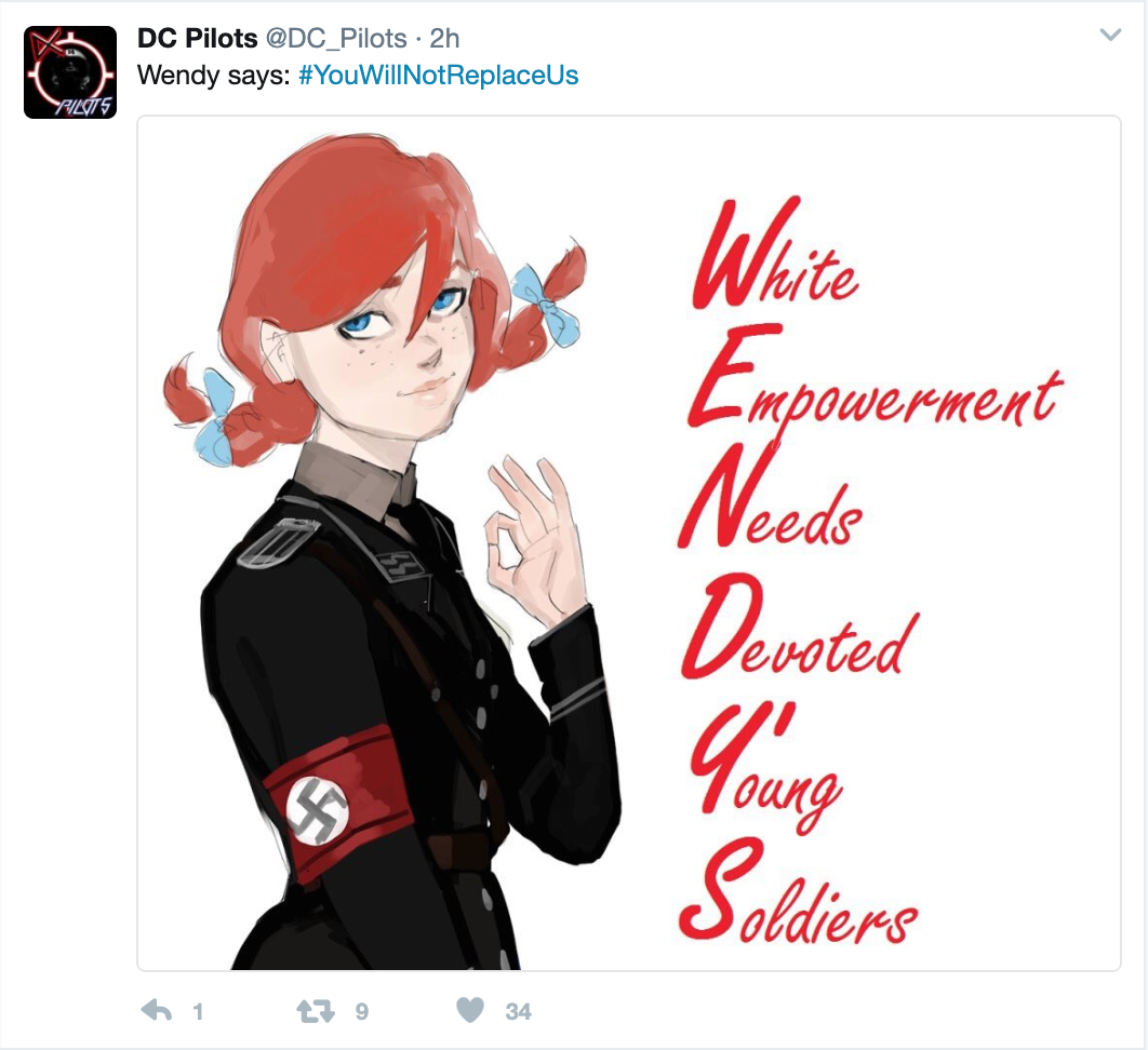 """Matthew Q. Gebert acted as a recruiter for a Virginia and Washington, D.C.-based chapter of a white nationalist organization, according to sources. This image is an example of the type of propaganda the group """"D.C. Helicopter Pilots"""" posted to Twitter. The group's Twitter account was launched in July 2016, according to archives."""