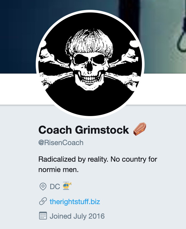 """Matthew Q. Gebert, as """"Coach Finstock,"""" once appropriated a Twitter avatar of a skull and crossbones overlaid with what appears to be racist mass murderer Dylann Roof's haircut while using the handle @RisenCoach."""