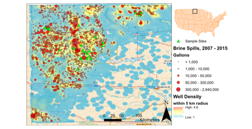 Map of western North Dakota that includes well density (number of wells per 5 km radius), reported brine spills from 2007 to 2015 (red circles), and sampling sites of samples collected in July 2015 (green triangles). Credit:    Lauer et al. 2016