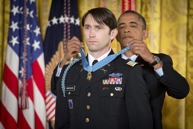 President Barack Obama bestows the Medal of Honor on U.S. Army Capt. William D. Swenson, who, unlike Trump, is not a chickenhawk ( U.S. Army )