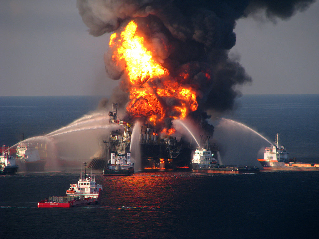 Fire on Deepwater Horizon in Gulf of Mexico ( United States Coast Guard )