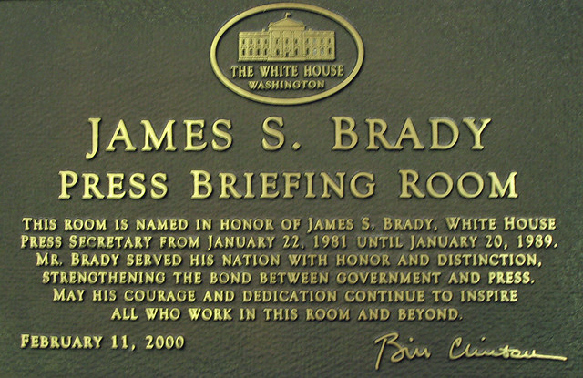 Plaque in White House press briefing room ( Bob Simmons )