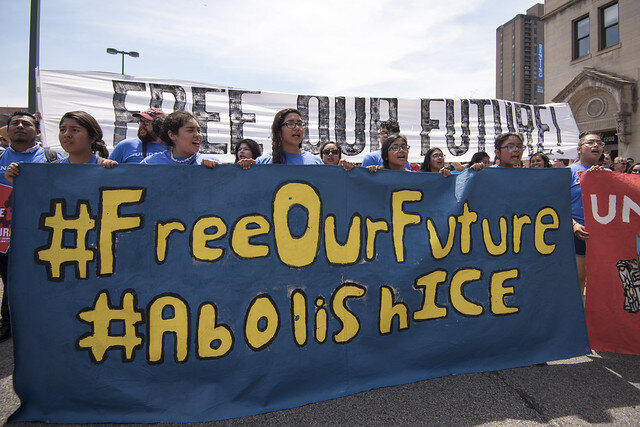 Free Our Future. Abolish ICE. March and Day of Action ( Fibonacci Blue )