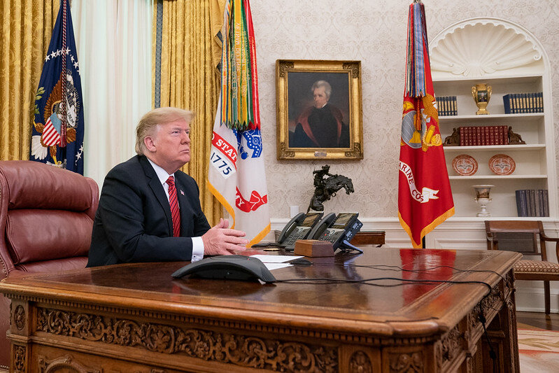 President Donald J. Trump participates video teleconference from the Oval Office ( The White House )