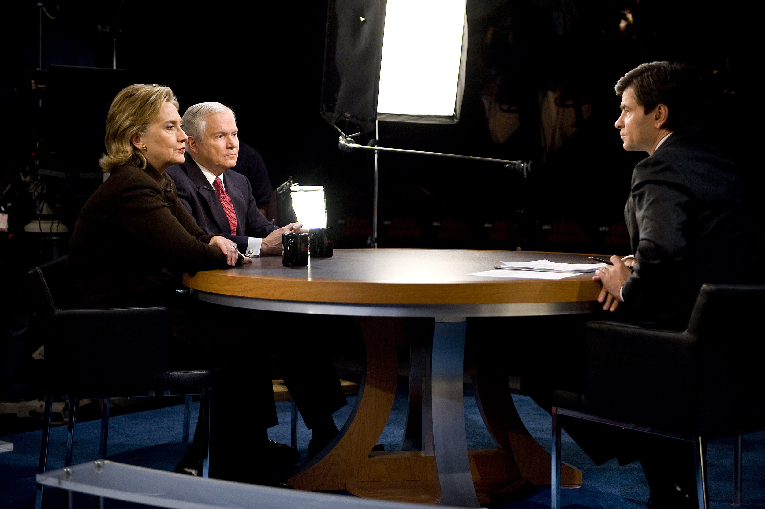 """Secretary of Defense Robert M. Gates and Secretary of State Hillary Clinton talk with George Stephanopoulos, on ABC's """"This Week,"""" 2009 ( U.S Department of Defense )"""