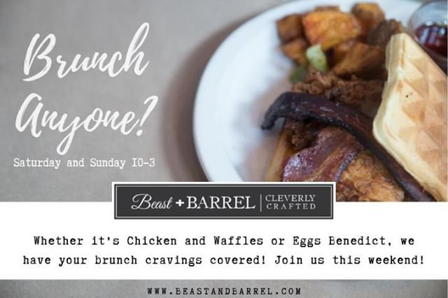 Waffles are just pancakes with abs! So you're basically getting a workout at Brunch! :)⠀ Join us this Saturday and Sunday for Beast+Barrel Brunch! 10am - 3pm!