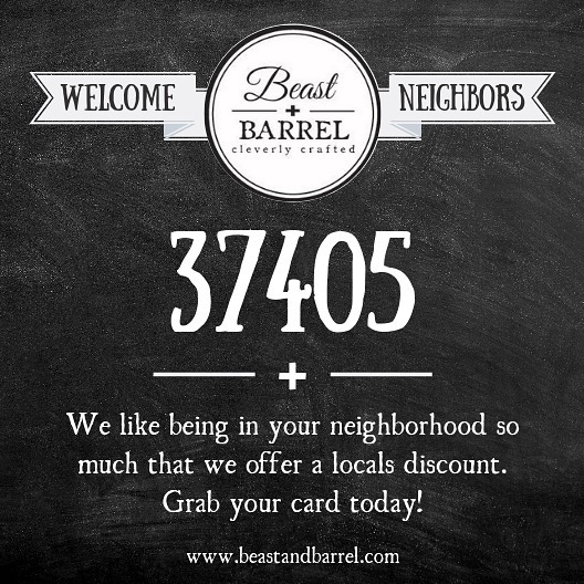 Hey Northshore Neighbors! Did you know we give a discount card to our neighbors? Being a local never felt so good!⠀ #BeastandBarrel #37405 #Northshore #local #partypants #cleaverlycrafted #restaurant #food #Chattanooga #Chatt #Nooga