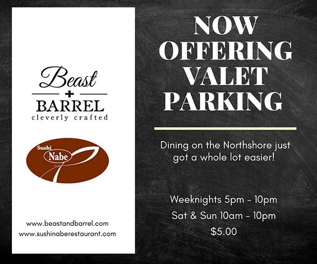 Sick of parking headaches messing with your plans? Not anymore! Beast + Barrel and Sushi Nabe is now offering valet parking! Pay us a visit and we will take care of the rest!⠀ #BeastandBarrel #valet #parking #restaurant #dinner #cleverly #crafted #Chattanooga #nooga #chatt