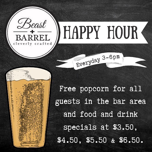"""Drink happy and cleverly crafted thoughts."""" — Unknown, Beast + Barrel Paraphrase ;)⠀ Join us today for Happy Hour from 3pm - 6pm!⠀ -⠀ #BeastandBarrel #happyhour #cocktail #cocktailtime #cocktailoftheday #cocktailhour #bar #drinks #cocktails #beer #food #wine #music #party #drink #dj #foodie #nightlife #cheers #instagood #friends #love #fun #pub #drinkstagram #craftbeer #livemusic #alcohol"""