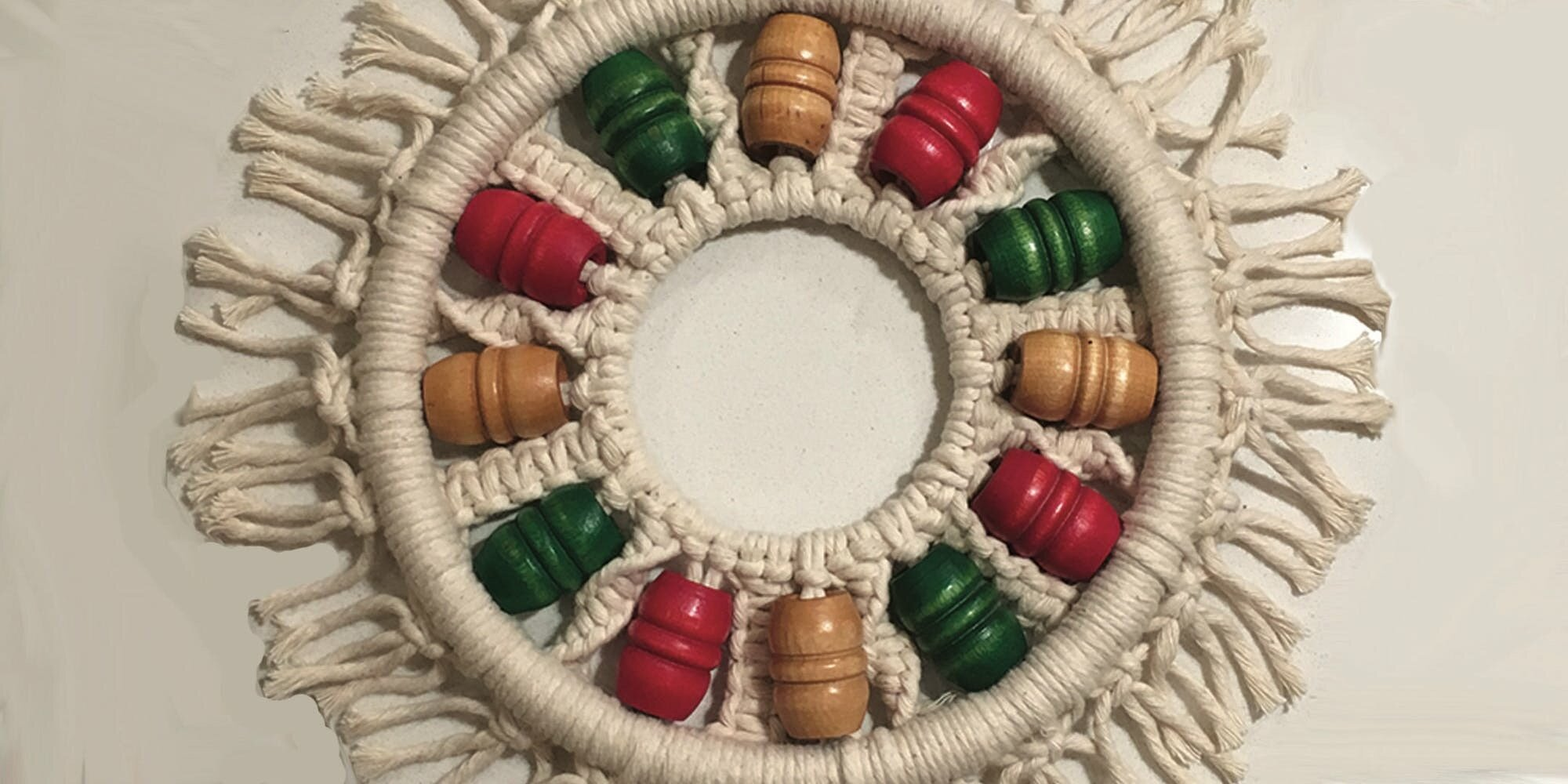 Tie into the holidays - Macrame a wreath to warm up your spirits and home for the holiday season! Knot and tie your own holiday keepsake. Enjoy your wreath for years to come - or pass it along as a meaningful holiday gift to a friend.