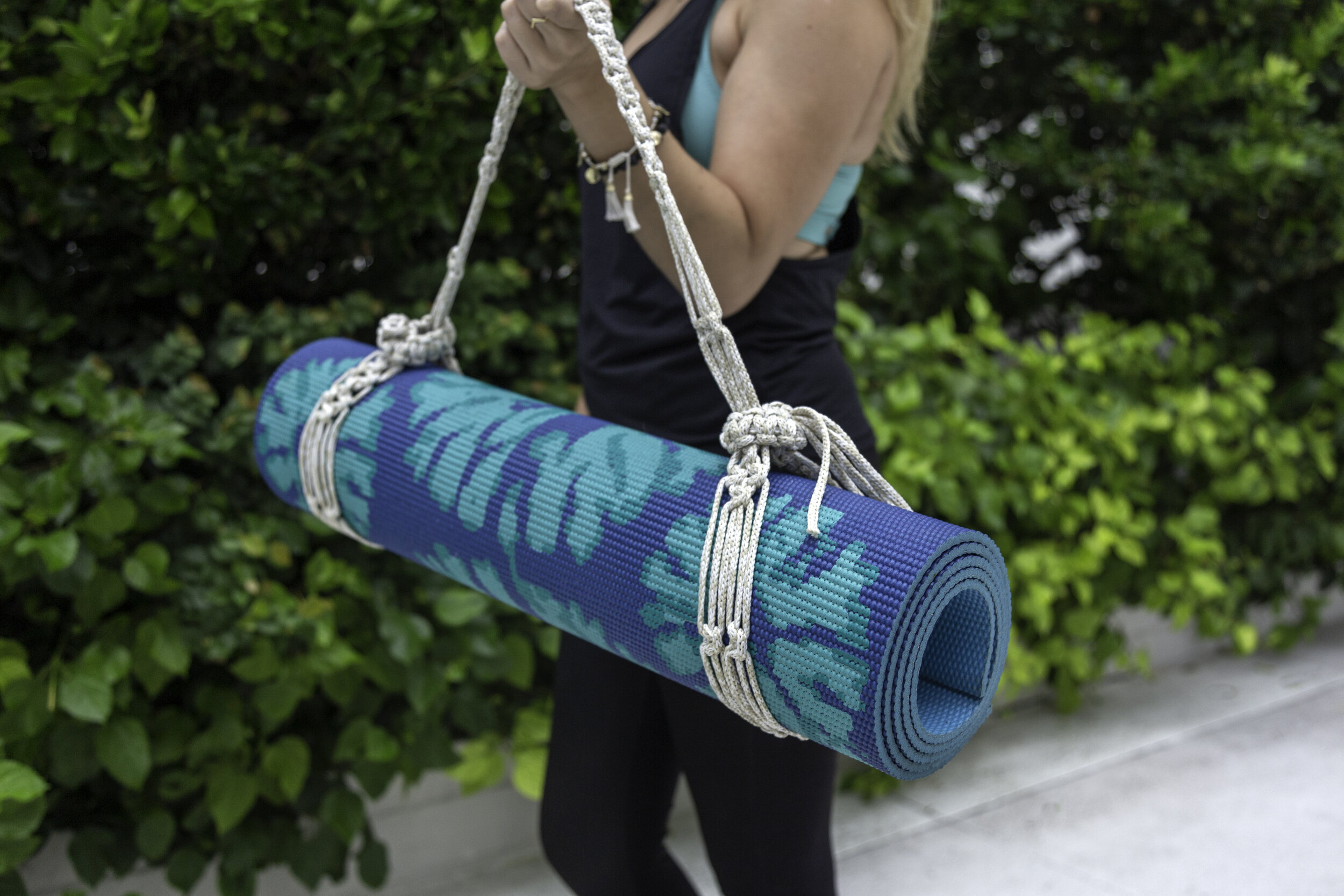 Stretch and carry - MacraMAKE a useful accessory in this special Yoga Mat Macrame Workshop with Macrame Momma. Use your strap to carry your mat to class and then use it to reach that deep stretch during class!
